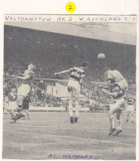 Action from the 1961 F.A. Amateur Cup Final. Walthamstow Avenue 2-1 West Auckland Town.