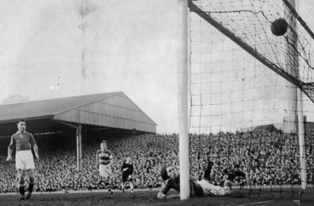 Jim Lewis scores Avenue's equaliser at Old Trafford